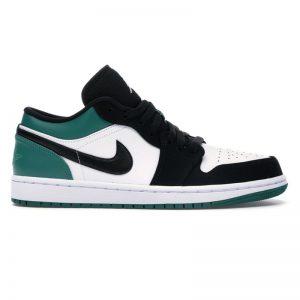 جردن وان وایت بلک گرین Jordan 1 Low White Black Mystic Green